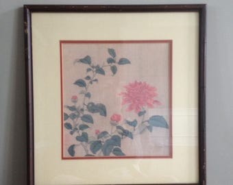 beautiful framed Asian floral art Chinoiserie