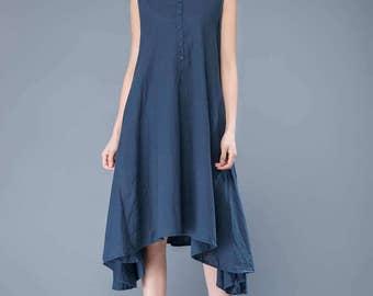 linen tank dress, blue linen dress, sleeveless dress, tank dress, swing dress, casual dress, everyday dress, summer dress   C1048