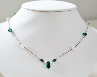 May Birthday Gift,For Woman,Emerald,Swarovski,Silk Corded,Necklace,30th Birthday,For Her,40th Birthday,Unique,Prom,Jewelry,Graduation Gift