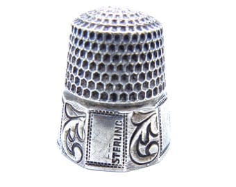 Antique Sterling Silver Thimble by Stern Bros. SBC, Anchor Hallmark - Sewing - Antique Thimble # 4417