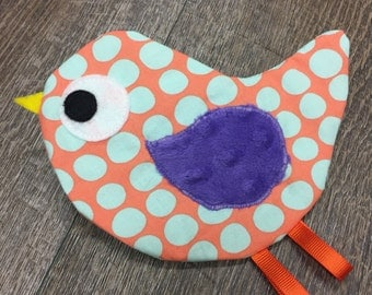 READY TO SHIP Birdie Crinkle Toy in Orange and Aqua Polka Dots