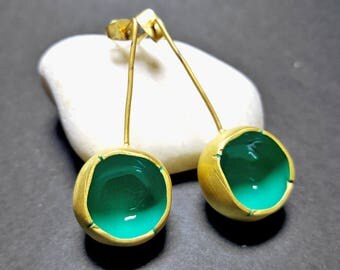 Long Fashion Earrings, Modern Gold Dangle Earrings, Unique Statement Earrings, Green Womens Earrings, Gold Womens Earrings, Long Ear Rings