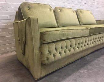 Hollywood Regency Sofa In Tufted Green Velvet By Sam Belz - SHIPPING NOT INCLUDED