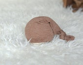 Simple brown sleepy hat Baby boy or girl long tail hat Newborn baby photography prop upcycled style - UK seller rustic