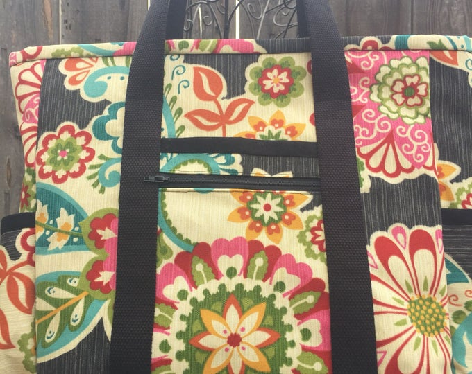 Teacher Tote, Black Floral Travel Tote, Leather Bottom Large Tote Bag with Pockets, Diaper Bag, Professional Tote, Teacher Bag