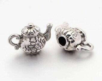 Teapot Charms Pendants Bulk Charms Wholesale Charms Tea Party Charms Tea Charms Antiqued Silver-50pcs