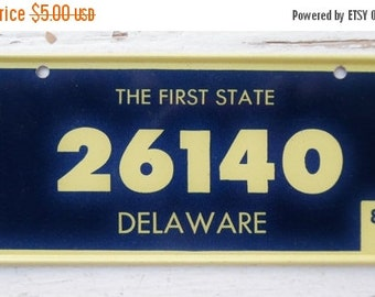 ON SALE Vintage, Delaware, 1980, Bike Plate, Bicycle, License Plate, Cereal Premium, Miniature, Tin, Collectibles