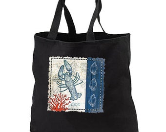 Blue Lobster New Black Tote Bag Shop Gifts Event Beach Travel