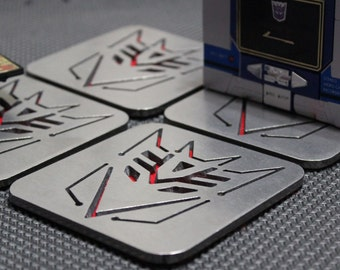 Decepticon Transformers Coasters Set of 4, Stainless Steel