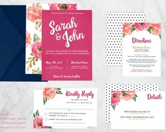 Boho Garden Party Wedding Invitation Suite