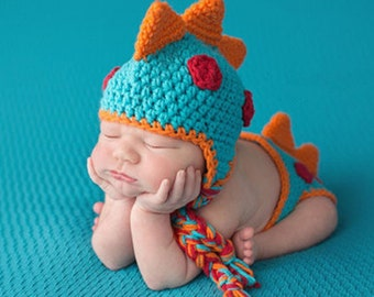 newborn photo prop baby Dinosaur Crochet Knitting Costume Set