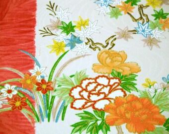 RARE Ume Kiku Vintage Japanese Tango chirimen silk kimono fabric for furisode