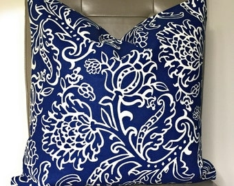 Pillow Cover, Throw Pillow, Decorative Pillow Cover, Sofa Pillow, Cushion, Pillow Case, Navy and White Pillow Cover, Floral Pattern