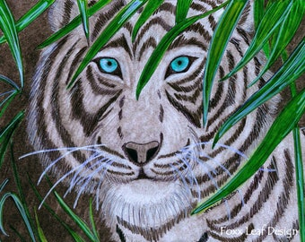 White Tiger Greeting Cards - Note Cards. Includes White Envelopes. Blank Inside.