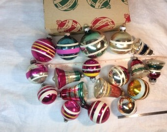 Shiny Brite Stripe Lot with Bell Various 18 Ornaments