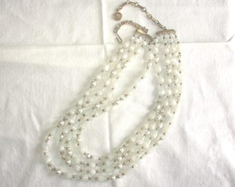 Vintage Lisner Multistrand Necklace White Moonglow and Crystals