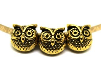 5 Darling Antique Brass 3-D Owl Beads