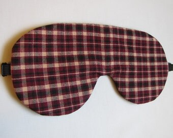 Red Plaid Sleep Mask, Adjustable Sleeping eye mask, Lightweight Plaid Eye Mask for Sleeping, Sleep Blindfold