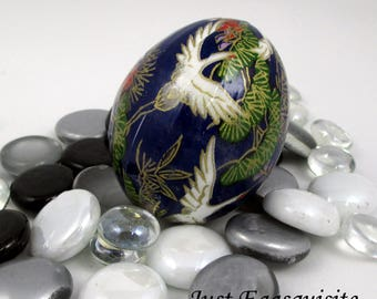 Japanese Washi Easter Egg Blue Egret Hand Decorated Chicken Egg