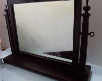 Vintage Dresser Mirror Tilting Walnut Wood