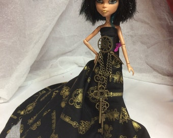 Skeleton Key Gown with Key and Steampunk Accents for your Monster High Doll - Monster High Doll Clothing