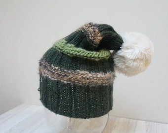 Pom Pom Beret hat tam rasta beanie bobble slouchy cap green brown faux fur bobble knit handmade wool Yarn cable Scandinavian folk unisex