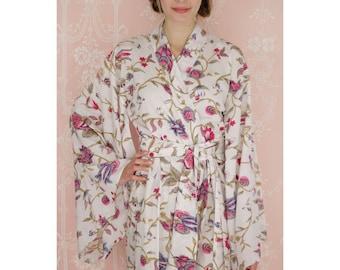 "One custom long ""Noguchi"" kimono robe in a soft cotton fabric. Long kimono robe. Lined & with pockets. Long womens cotton robe."