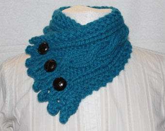 Fishermans Wife Cowl, Chunky Cowl, Cable Knit Cowl, Neck Warmer, Knitted Cowl, Big Twist Yarn, Denim Blue Cowl,