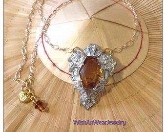 Amber and Crystal Rhinestone 30s Art Deco Pendant Necklace Mixed Metals Repurposed Dress Clip Fur Clip Boho Gatsby Downton Abbey WishAnWear