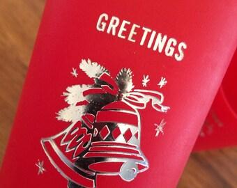 Vintage Set of 6 Plastic Christmas Drinking Tumbler Cups Seasons Greetings