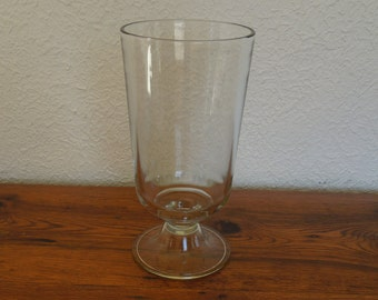 "Vintage Clear Glass Hurricane Pedestal Display Vase 12"" Tall"