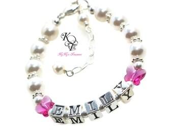 Butterfly Bracelet Baby Bracelet Personalized Bracelet Baby Jewelry Little Girl Birthday Gift Custom Baby Bracelet Toddler Bracelet
