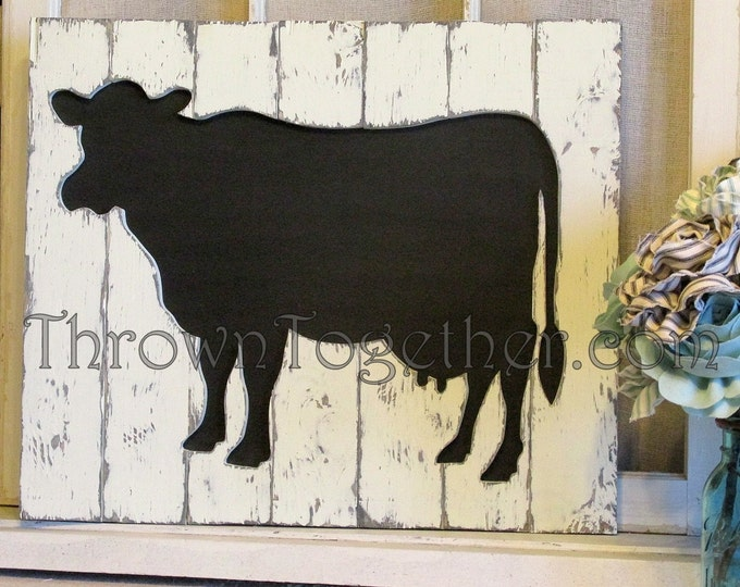 Cow Wall Art, Handcrafted Distressed Wood Cow Sign, Barnyard Sign, Rustic Farm Animal Wall Hanging, Gallerywall Decor, Barnyard Decor