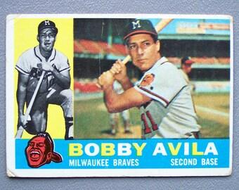 Vintage 1960 Topps Bobby Avila Baseball Card Milwaukee Braves