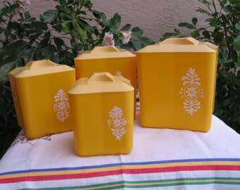 Vintage  Lustro-Ware Kitchen Canisters - Four (4) Piece - Styrene Plastic Nesting Canisters - White Floral Design - Kitschy Kitchen