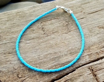 turquoise anklet beach surfing summer holiday vacation seed bead jewellery