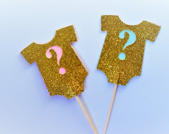 Gold Onesie Question Mark Cupcake Toppers-gender reveal ideas- Party Supplies - Baby Shower - Party Decor.