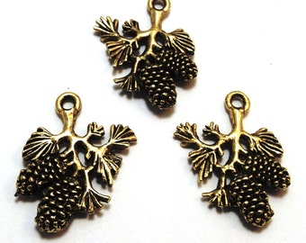 Three Gold Tone Pewter Pine Cone Branch Charms - Free Shipping in the US - 0739