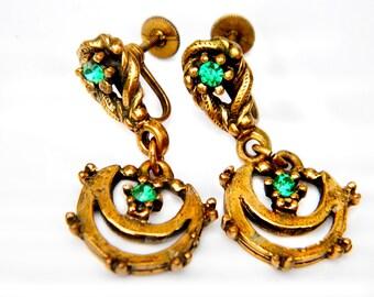 Hollycraft Style Earrings Brass Green Rhinestone Vintage Collectible Jewelry Earrings For Women Midcentury Screwback Dangle Victorian