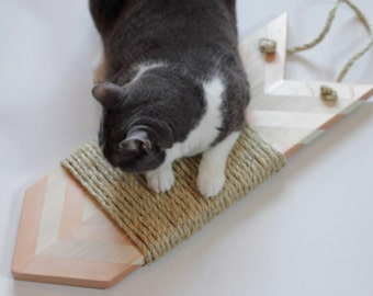 Rose Gold and Natural Wood Modern Cat Scratcher
