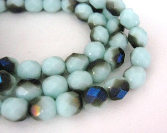 6mm Faceted Round Blue Metallic Czech Beads Glass Midnight Iris 25pcs