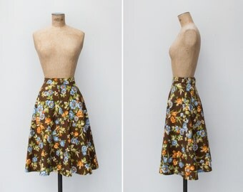 1970s Skirt - Vintage 70s Brown Blue Floral Cotton Skirt - Caravan Skirt
