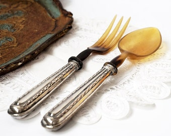 Art Deco French Set of Salad Servers,Antique Silver 800 Set Spoon and Fork ,Silver and Horn Serving Set,French tableware