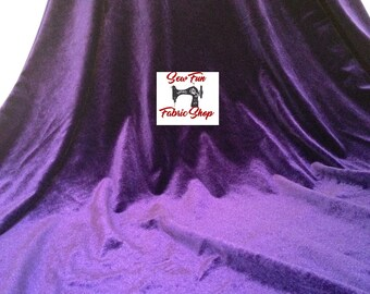 Purple Stretch Velvet Two-Way Stretch Fabric..great for costumes, dance, theater, formal wear, pageant.