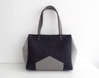 Melange Black Gray Felt Leather Handbag