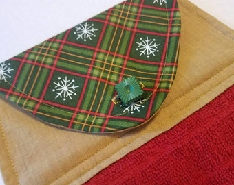 Holiday Plaid Kitchen Towel, Button Top Dish Towel, Classic Christmas, Snowflake, Red, Green, Gold, Teacher's Gift, Holiday Hostess Gift