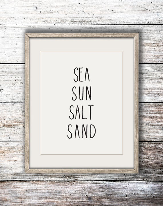 Sea Sun Salt Sand Beachy Ocean Surf Beach House Simple Minimalist Print - Digital Instant Download