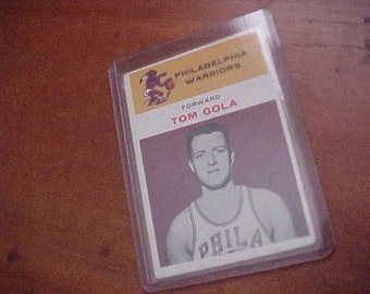 1961 TOM GOLA #14 Fleer Basketball Card Philadelphia Warriors in Hard Plastic Sleeve A Rare Sports Collectible VGC
