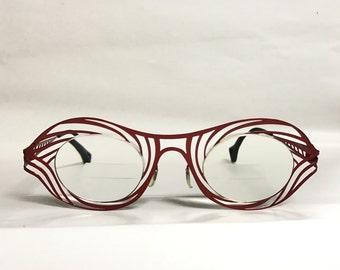Red antique eyeglass frame for prescription lenses vintage
