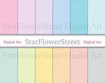 Spring Digital Paper chevron printable pastel scrapbook paper background easter digital pink blue green gray mint purple small